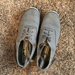 Keds sneakers. Gray with white polka dots.